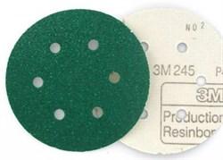 3m 245 Круг абразивный зеленый на липучке D150мм (N60)  00316 - фото 61119
