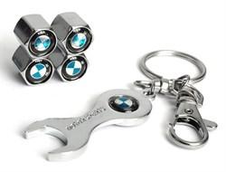 Комплект колпачков на ниппель с брелок-ключом хромир. BMW - фото 70041