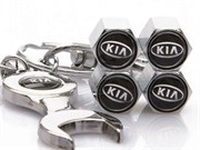 Комплект колпачков на ниппель с брелок-ключом хромир. KIA